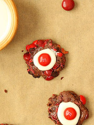 Chocolate Cherry M&M Thumbprint Cookies