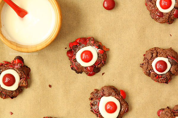 Chocolate Cherry Cordial Thumbprint Cookies Recipe — Dishmaps