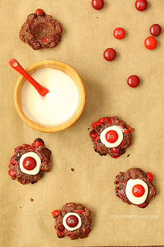 Chocolate Cherry M&M Thumbprint Cookies from www.chocolatemoosey.com @chocolatemoosey