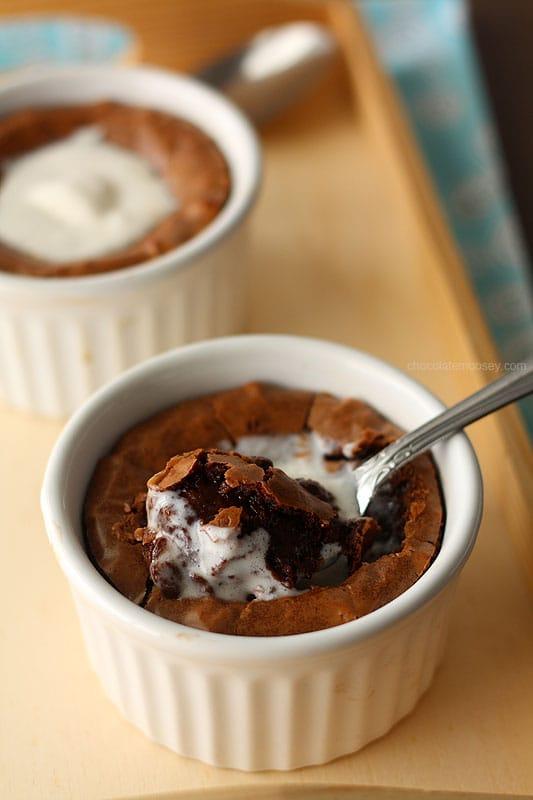 Deep Dish Fudge Brownies For Two In Ramekins
