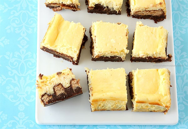 Kit Kat Cheesecake Brownies from www.chocolatemoosey.com