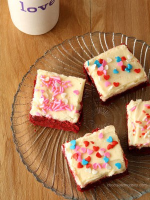 Red Velvet Sugar Cookie Bars (Small Batch)