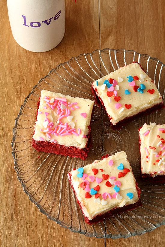 Red Velvet Sugar Cookie Bars with vanilla buttercream frosting