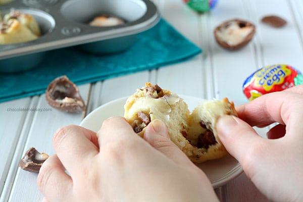 Cadbury Creme Egg Pull Apart Sweet Rolls | www.chocolatemoosey.com