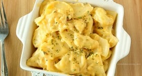 Easy Cheesy Stovetop Scalloped Potatoes | www.chocolatemoosey.com