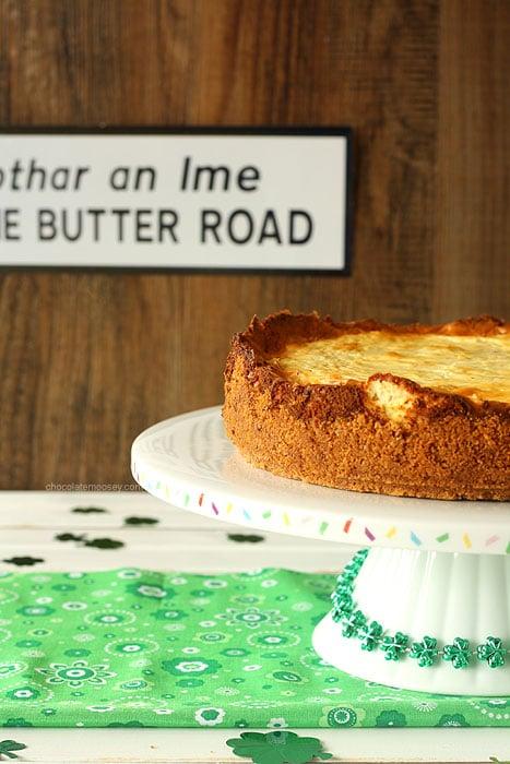 Irish Cheese and Bacon Cheesecake with Walnut Crust   www.chocolatemoosey.com