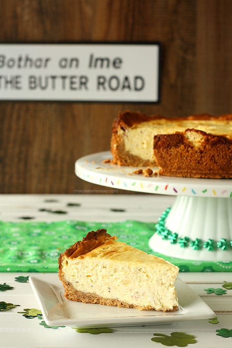 Irish Cheese and Bacon Cheesecake with Walnut Crust | www.chocolatemoosey.com
