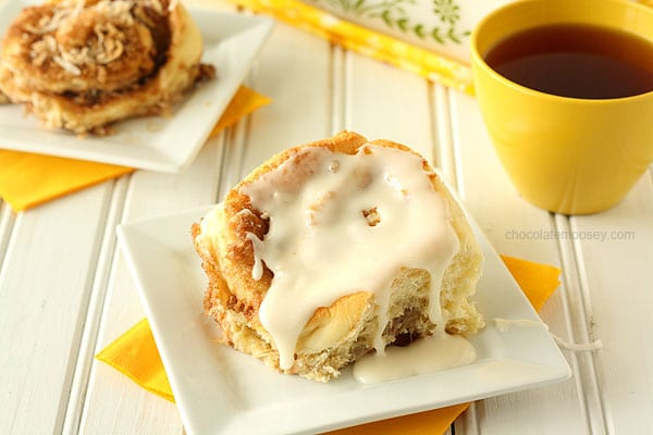Lemon Coconut Cinnamon Rolls | www.chocolatemoosey.com