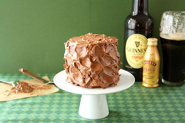 Mini Layered Guinness Cake with Irish Cream Ganache Frosting | www.chocolatemoosey.com