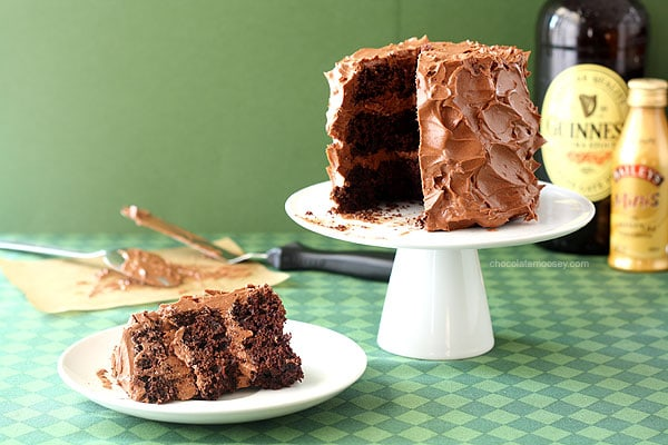 Mini Chocolate Guinness Cake For Two with Irish Cream Frosting