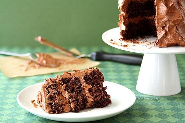 Mini Layered Guinness Cake with Irish Cream Ganache Frosting | www.chocolatemoosey.com
