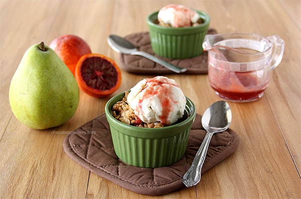 Mini Pear Walnut Crisps with Blood Orange Caramel Sauce | www.chocolatemoosey.com