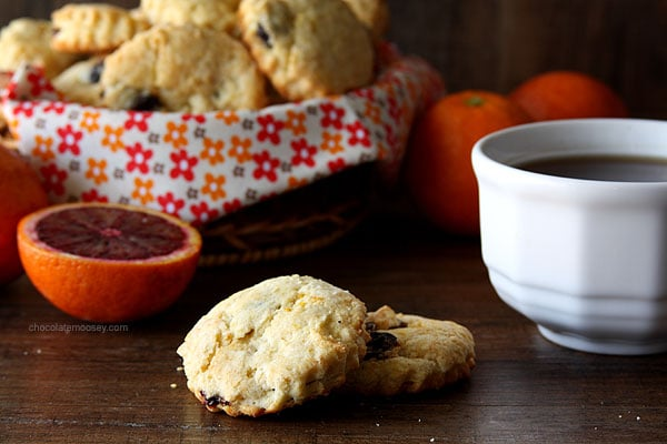 Simple Dried Cherry and Orange Scones | www.chocolatemoosey.com