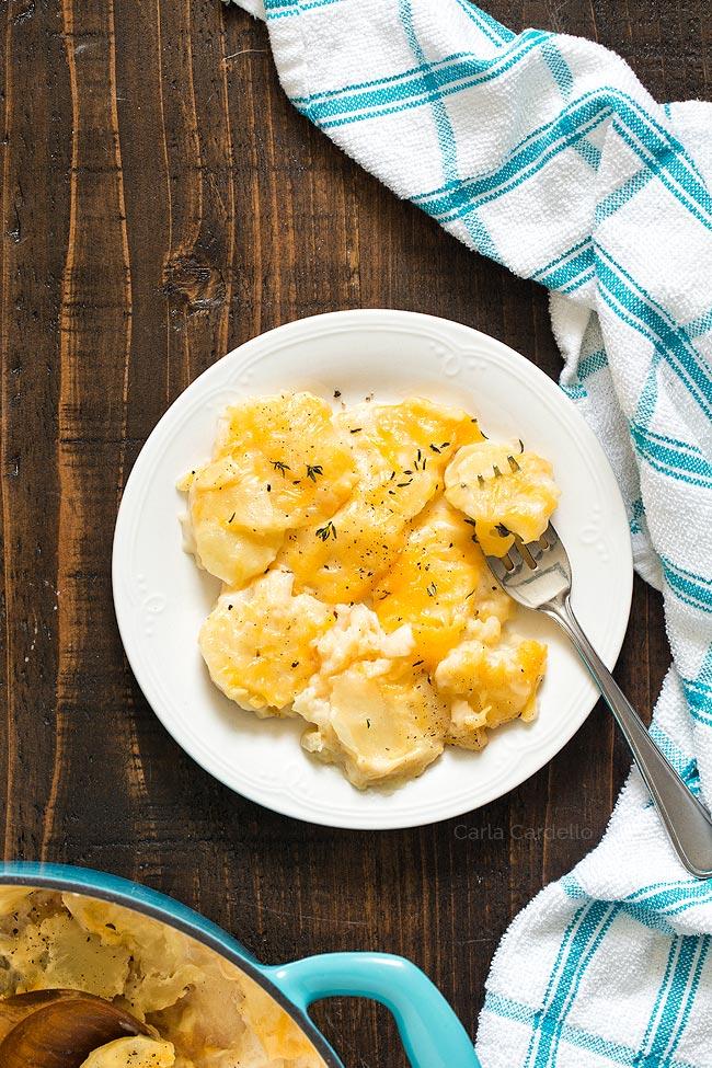 scalloped potatoes on white plate