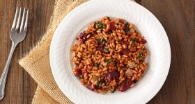 Beet, Spinach, and Goat Cheese Farro Risotto | www.chocolatemoosey.com