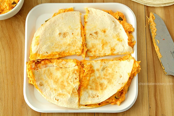 Buffalo Chicken Dip Quesadillas | www.chocolatemoosey.com