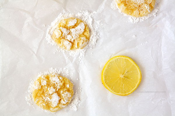 Lemon Coconut Crinkle Cookies | www.chocolatemoosey.com