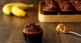 Roasted Banana Cupcakes with Peanut Butter Ganache Frosting | www.chocolatemoosey.com