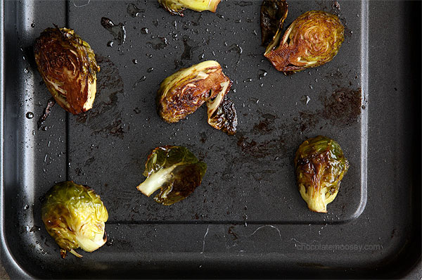 Roasted Brussels Sprouts with olive oil, balsamic vinegar, and sea salt