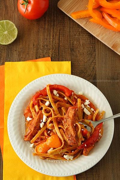 Chicken Fajita Feta-ccine | www,chocolatemoosey.com