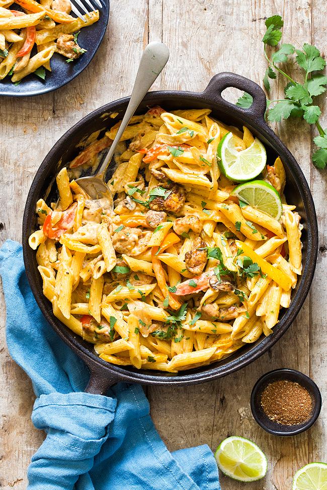 Chicken Fajita Pasta with spoon