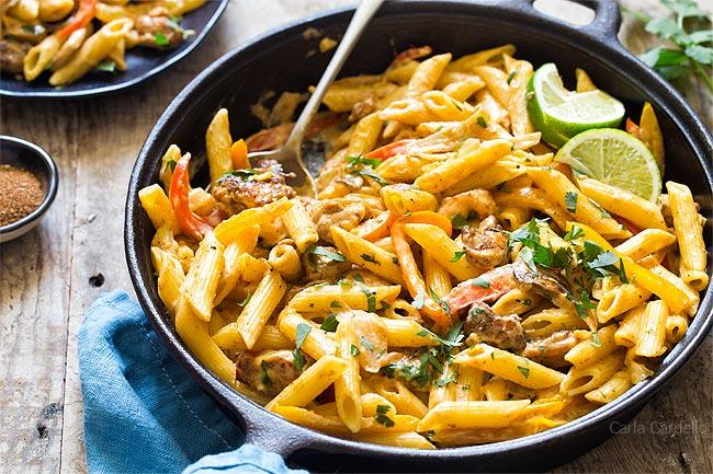 Close up of Chicken Fajita Pasta