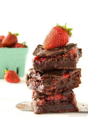 Chocolate Covered Strawberry Brownies made with fresh strawberries
