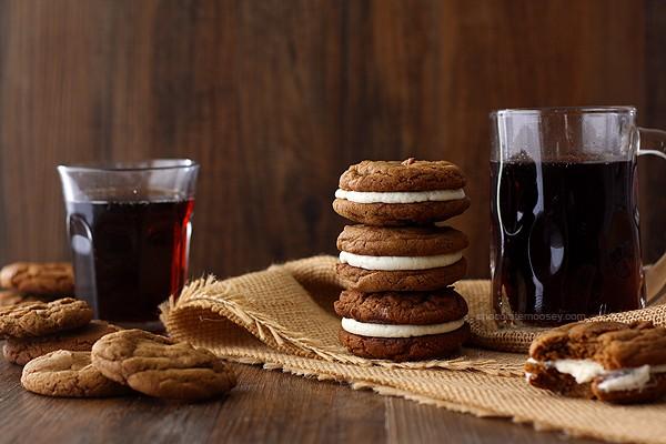 Root Beer Float Sandwich Cookies   www.chocolatemoosey.com