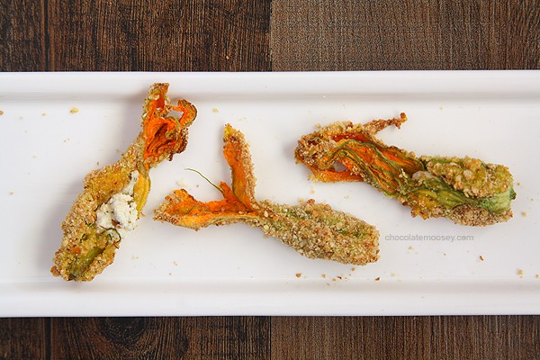 Goat Cheese Stuffed Squash Blossoms | www.chocolatemoosey.com