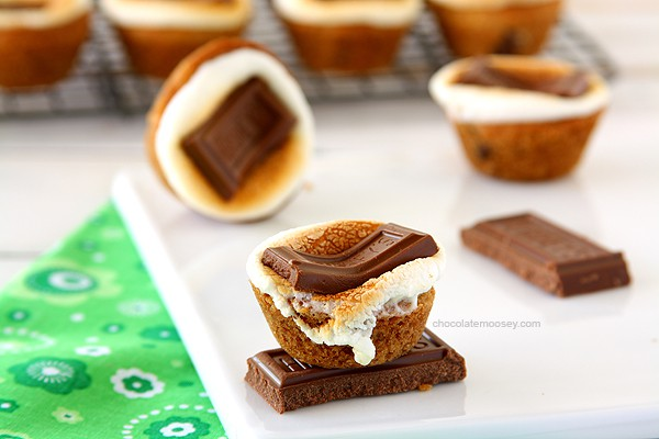 Smores Chocolate Chip Cookie Cups   www.chocolatemoosey.com