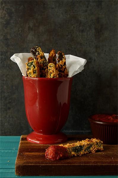 Crispy Baked Ratatouille (Zucchini and Eggplant) Fries   www.chocolatemoosey.com