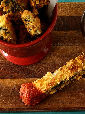 Ratatouille Baked Fries (aka Zucchini and Eggplant) With Spicy Tomato Dipping Sauce