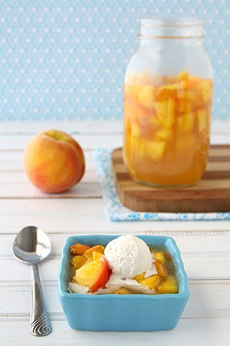 Homemade Peach Pie Filling served with ice cream