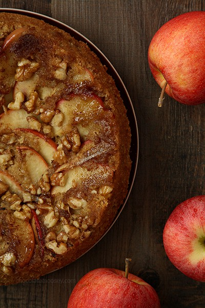 Apple Walnut Upside Down Spice Cake | www.chocolatemoosey.com