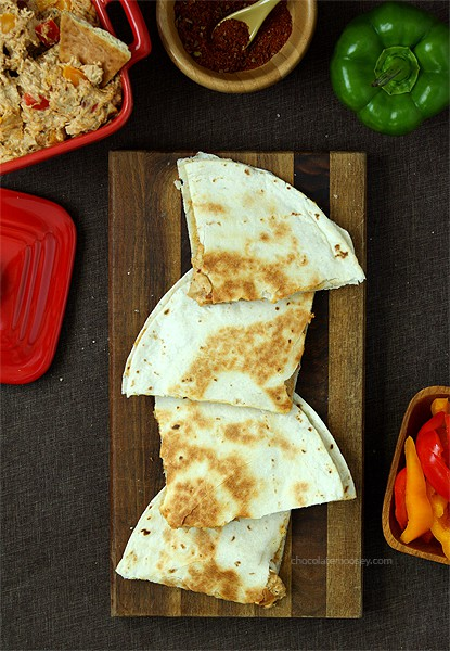 Chicken Fajita Dip and Quesadillas | www.chocolatemoosey.com