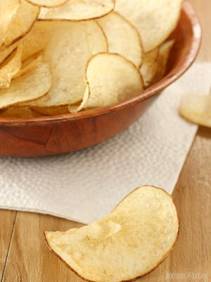 Homemade Potato Chip In Front with Bowl In Back