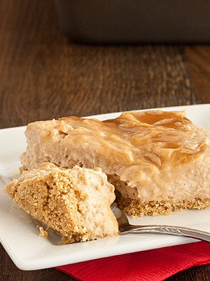 No Bake Caramel Swirl Apple Butter Cheesecake