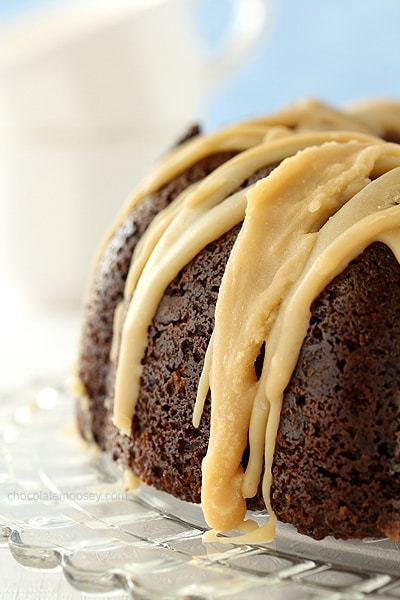 Double Chocolate Espresso Bundt Cake with Caramel Glaze | www.chocolatemoosey.com