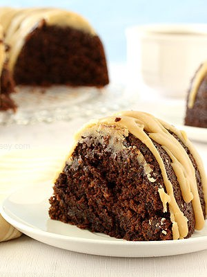 Double Chocolate Espresso Bundt Cake with Caramel Glaze
