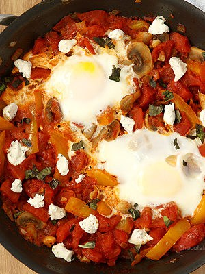 Shakshuka For Two (Eggs Poached In Tomato Sauce)