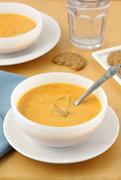Cheesy Buffalo Chicken Soup | www.chocolatemoosey.com