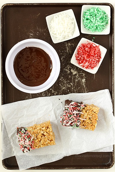 Chocolate Dipped Peanut Butter Rice Crispy Treats | www.chocolatemoosey.com #shop