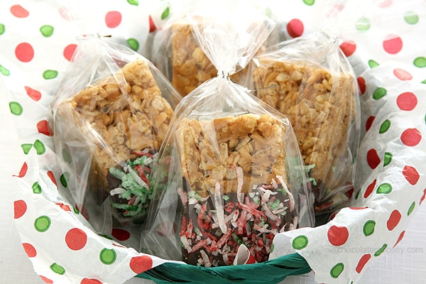 Small Batch Peanut Butter Rice Krispie Treats decorated for Christmas