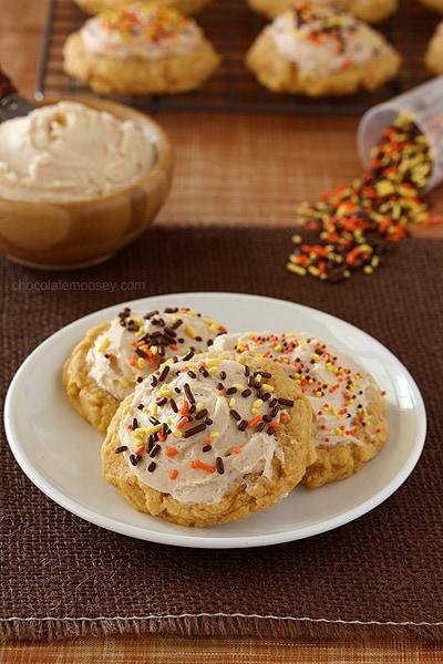Soft Pumpkin Sugar Cookies with Cinnamon Frosting | www.chocolatemoosey.com