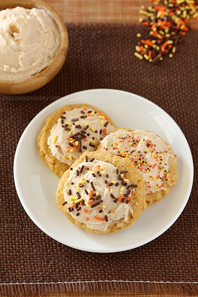 Soft Pumpkin Sugar Cookies with Cinnamon Frosting | www.chocolatemoosey.com