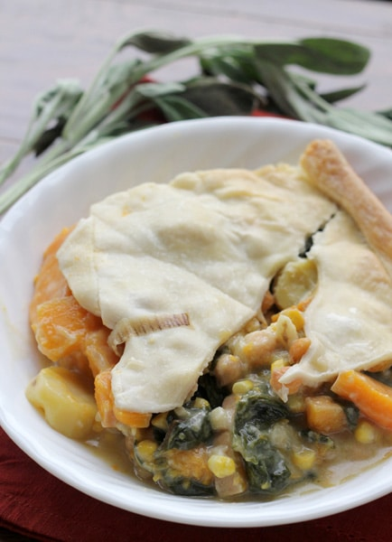 Winter Squash Pot Pie with Swiss Chard and Chickpeas from Eats Well With Others