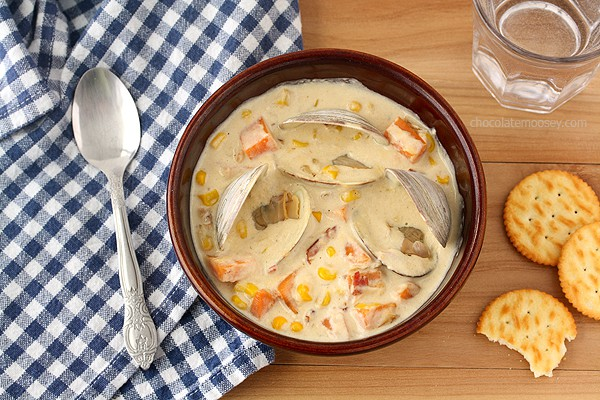 Sweet Potato and Corn Clam Chowder