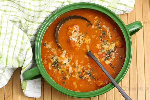 Chicken Parmesan Meatball Soup