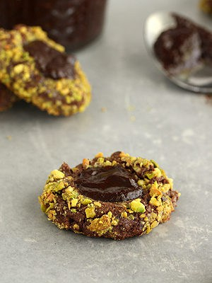 Irish Cream and Pistachio Chocolate Thumbprint Cookies