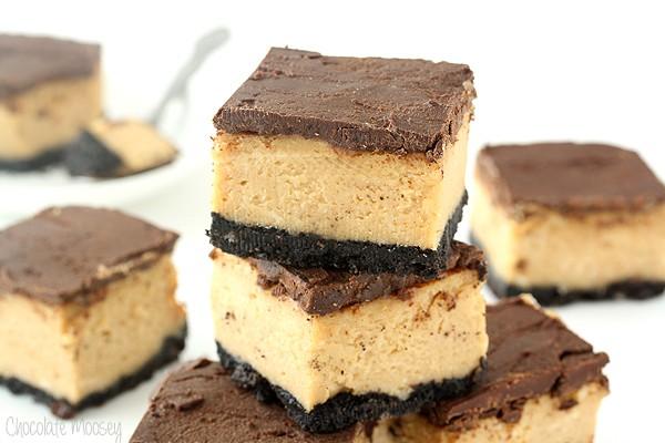 Buckeye (Chocolate and Peanut Butter) Cheesecake Bars